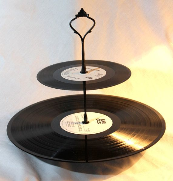 2 tier cake stand. Vintage vinyl record cake by Prettyvintagehouse