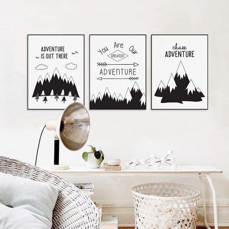 Pas cher Morden Décor À La Maison Noir Blanc Nordique Aventure Montagne Affiches Toile Art Impression Photos sur le Mur pour Salon, Acheter  Peinture et Calligraphie de qualité directement des fournisseurs de Chine: