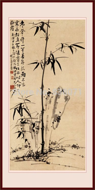 Pintura a óleo sobre tela parede arte chinesa adesivos tinta de bambu caligrafia chinesa pintura chinesa tradicional em Pintura & caligrafia de Casa & jardim no AliExpress.com | Alibaba Group