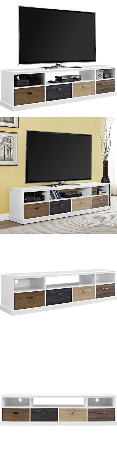 Entertainment Units TV Stands: Altra Furniture Mercer 65 Tv Stand In White BUY IT NOW ONLY: $207.47