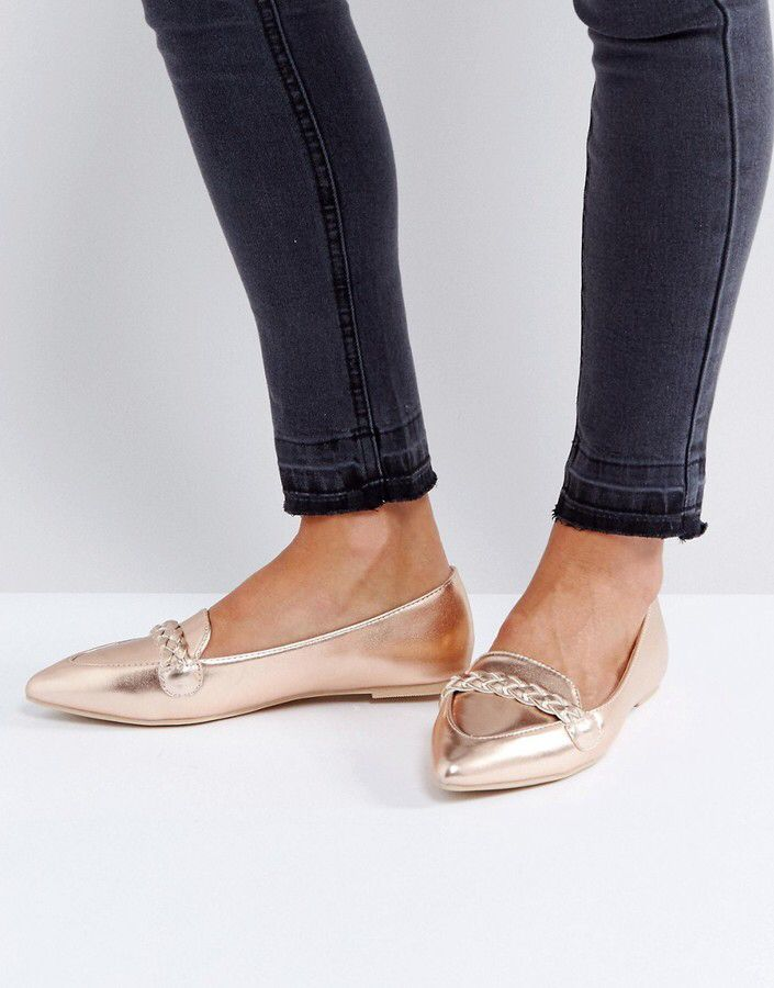 eb2dba91d Lost Ink Rose Gold Flat Shoes | Sob | Rose gold metallic shoes, Rose ...
