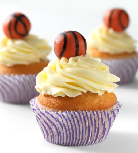 Butterscotch Pecan Cupcakes: Flick, swish, nothin' but net: King Arthur Flour – Baking Banter. Make some for the Sweet 16.