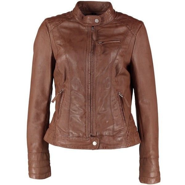 Oakwood Leather jacket tobacco ($185) ❤ liked on Polyvore featuring outerwear, jackets, leather jackets, coats, brown, leather zip jacket, pocket jacket, 100 leather jacket and zip pocket jacket