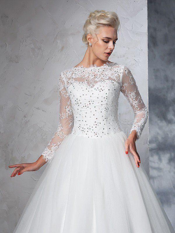 4f0e13ef60ea Ball Gown Bateau Lace Long Sleeves Long Net Wedding Dresses ...