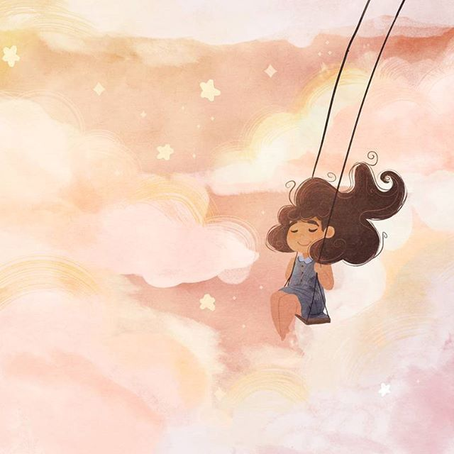 'Don't quit your daydream' is something I've been telling myself the last two weeks. Sometimes I wish I didn't have to work a normal boring job and could instead be home illustrating all day 😍  .   #digitalart #illustration #art #kidlit #childrensliterature #kidlitart #photoshop #clouds #landscape #conceptart #speedpaint #pink