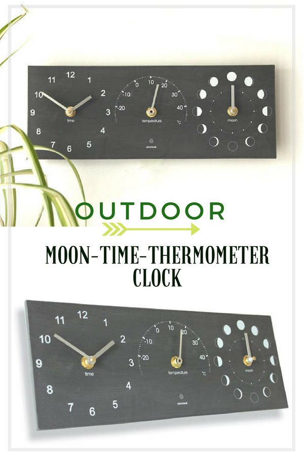 The Moon, Time and Thermometer combination clock is the perfect accessory for your home or garden.Made from recycled bottles and crushed stone powder, the material has a very solid, robust slate-like look and feel. Eco alternative to a traditional Slate Clock. #clock #ad #outdoor #home #thermometer #moonphase #giftideas #recycled