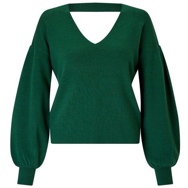 Miss Selfridge Compact volume sleeves jumper (795 MXN) ❤ liked on Polyvore featuring tops, sweaters, jumper tops, miss selfridge, v neck sweater, green jumper and green v neck top