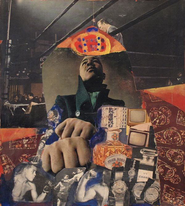 Fran Herndon  The Gospel According to Joe  1962  Collage on masonite  19 3/8 x 17 5/8 inches