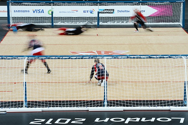 Action during the Women's Team Goalball preliminary round match between United States and Canada on Day 6 of the London 2012 Paralympic Games at the Copper Box in the Olympic Park on September 4, 2012 in London, England. Canada went on to win the match 1-0. (Photo by Justin Setterfield/Getty Images)