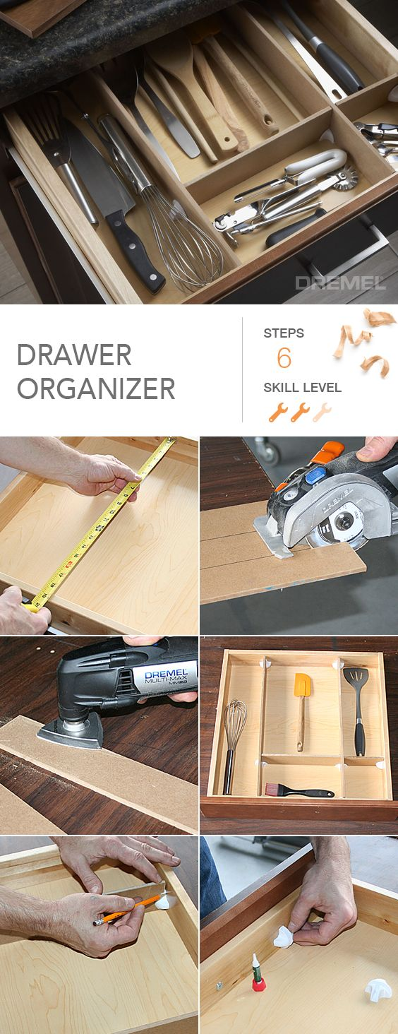 Never use the dollar store dividers again. How to make genius, totally custom drawer organizers to keep your home neat and tidy.