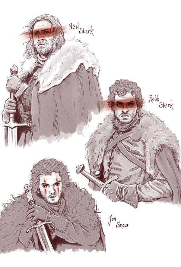Ned Stark, Robb Stark & Jon Snow - Game of Thrones - Kumagorochan.deviantart.com