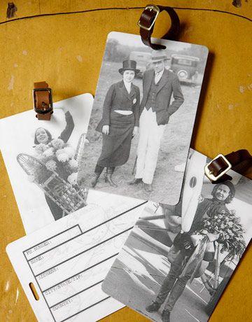 vintage photo luggage tags