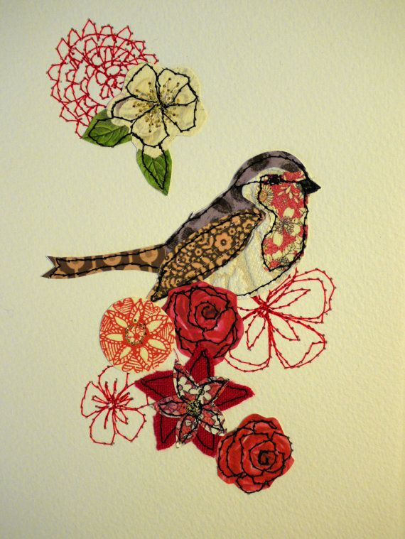 Original ArtSewn and collage bird and by AmandaWoodDesigns on Etsy