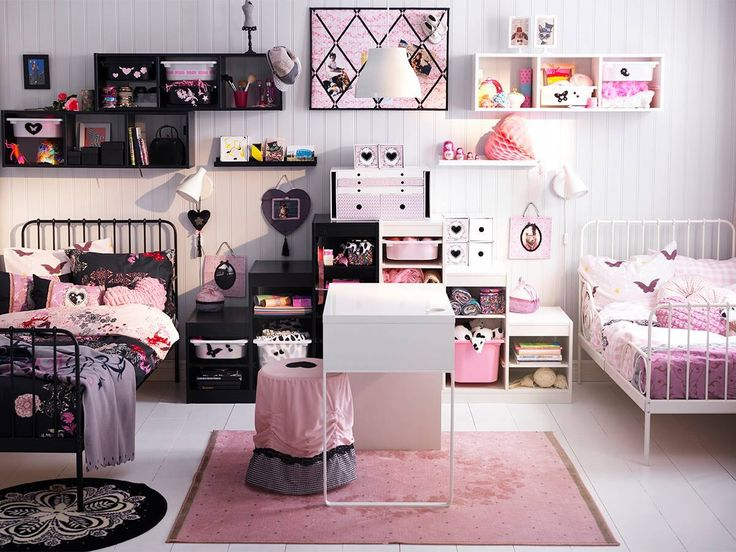 Girls room ikea kids rooms and playroom ideas pinterest - Chambre rose et noir baroque ...