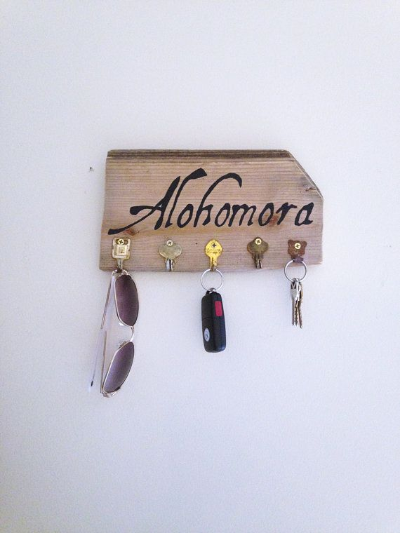 Alohomora Spell Harry Potter Barn Wood Key Hook Sign/ Harry Potter Home Decor/ Wall Key Rack