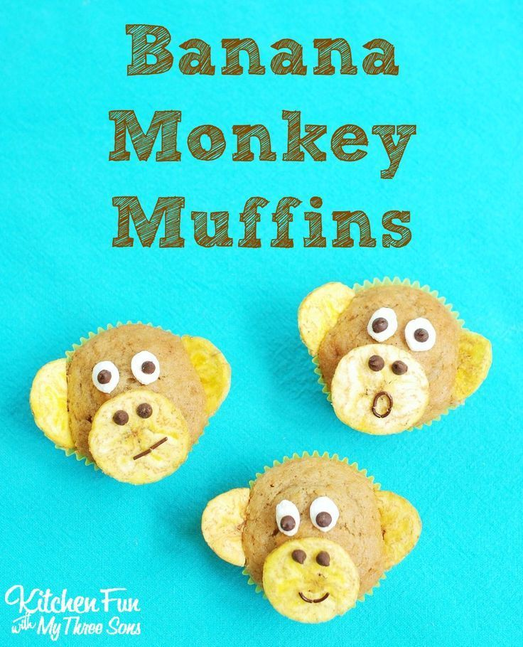 Banana Nut Monkey Muffins! How adorable are these fun food treats for kids. Perfect treat for a Monkey or Jungle themed birthday party!