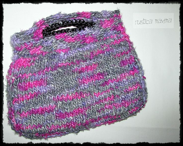 OOAK hand-knitted sari silk bag with recycled  lining. https://www.facebook.com/rusticamaxima