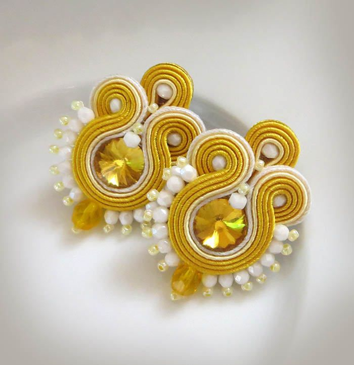 Excited to share the latest addition to my #etsy shop: Yellow Earrings, soutache earrings, gioielli Soutache Orecchini soutache, summer Earrings, crystal Earrings, bright summer Earrings http://etsy.me/2BVyz5h #jewelry #earrings #yellowearring #sutaszula #soutache