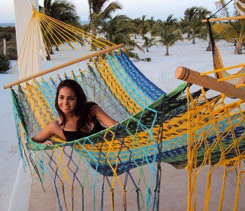 Sunnydaze American Style Mayan Hammock with Spreader Bar- Multi Colored