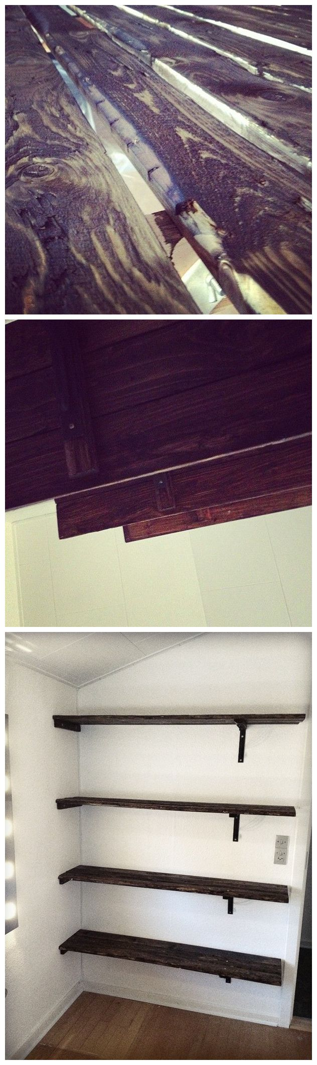 DIY Shelves. The wood is stained to achive a look and feel of old and used wood. The black brackets are bought in Ikea.