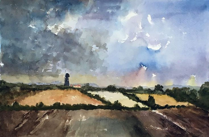 Buy Approaching storm at Sarre, Kent - A large original watercolour painting!, Watercolour by Julian Lovegrove Art on Artfinder. Discover thousands of other original paintings, prints, sculptures and photography from independent artists.