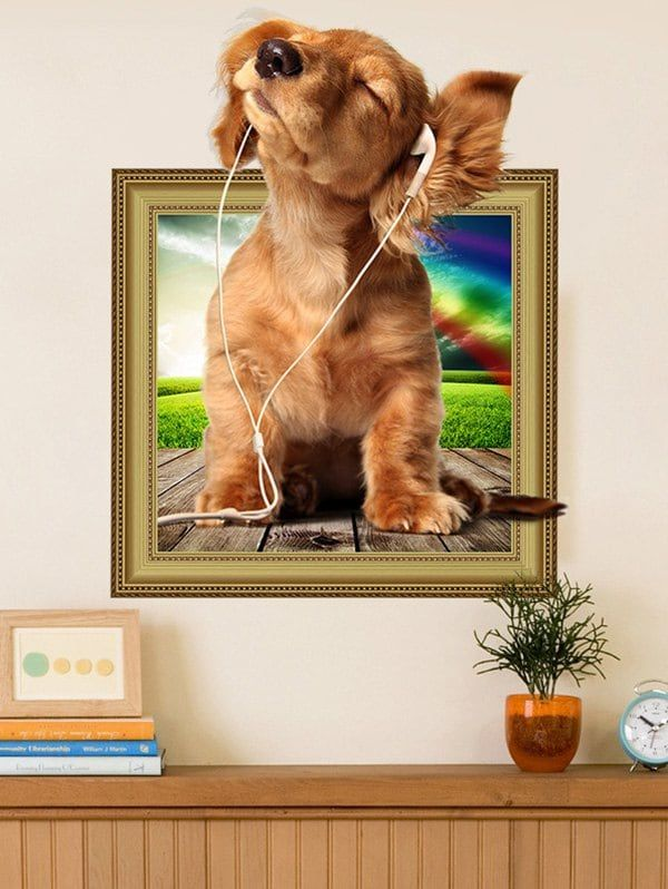 3D Dog Animal Removable Wall Sticker - BROWN 40*50CM