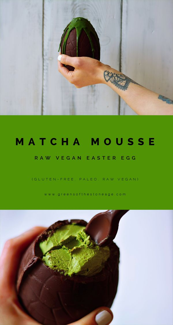 This healthy Matcha Mousse Raw Chocolate Easter Egg has a thick chocolate shell draped in raw white matcha chocolate and filled with a dreamy matcha mousse. Perfect for any matcha lover! Made with @matchaeologist Midori Culinary Matcha!