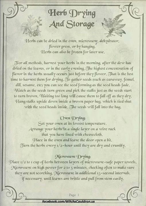 Herbs:  #Herb Drying and Storage Page 1 of 3.