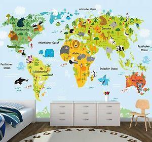 Vlies XXL-Poster Fototapete Tapete Kinder Weltkarte Erde 2  | eBay