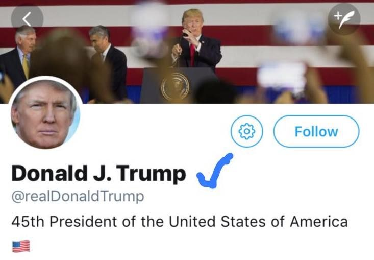 Twitter removes blue tick from Donald Trump's account -- In the latest shake-up to twitter's format, the website have taken to removing the ticks from people for various reasons. Hatemongers have been particularly under fire, including Tommy Robinson of the EDL, and now Donald Trump. A spokeswoman for twitter, Maddie Raytor, issued the following... --  -- https://rochdaleherald.co.uk/2017/11/19/twitter-removes-blue-tick-donald-trumps-account/