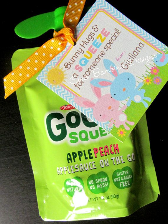 PRINTABLE Easter SQUEEZE Party Favor Tags, You Print - Pink and Blue Bunny for Applesauce Squeeze Pouches