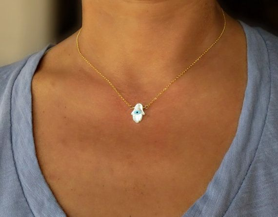 Gold Hamsa Necklace Small Mother of Pearl Evil Eye by SoCoolCharms