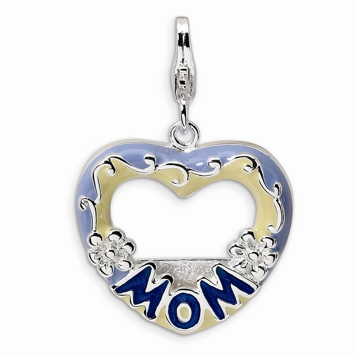 Sterling Silver Amore La Vita 2-D Blue Enameled Mom Photo With Lobster Clasp Charm