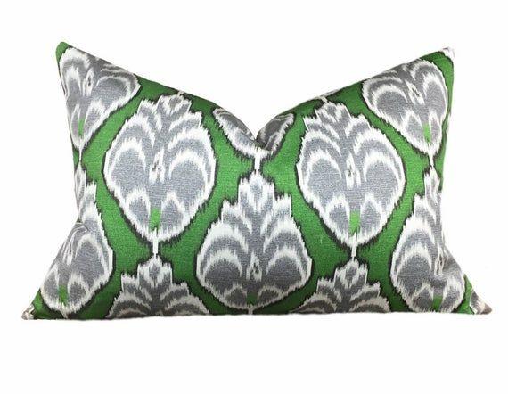 Kelly Green Ikat Pillow Cover Cushion Cover Ikat