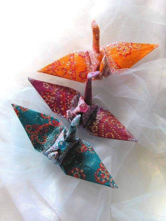 Bollywood Peace Crane Wedding Cake Topper Party Favor Origami Christmas Ornament Bird Japanese Paper Decor. $8.00, via Etsy.