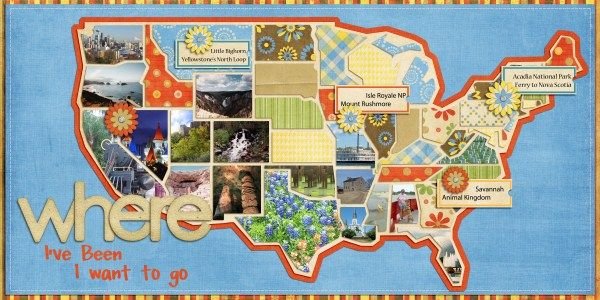 Ok, I sorta squeaked when I saw this layout in the gallery for February #27! I LOOVE it soo soo much! What a great way to document where you've been and where you want to go. Can you imagine doing this every 5 years or so to see the changes on the map through the year? Fantastic!