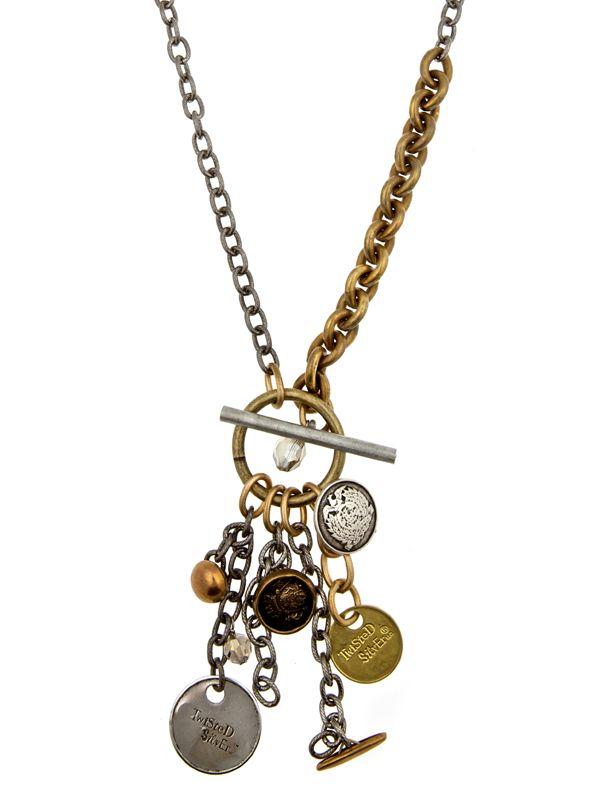 Trendy Jewelry | Twisted Silver | Celebrity Jewelry | Funky Jewelry - Button necklace