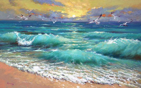 Artículos similares a Mar Caribe - pintura Original de la espátula por Dmitry Spiros. Listo para colgar. 32 x 24. en Etsy
