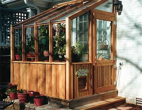 Lean-to greenhouse.  Finally found a picture of one!