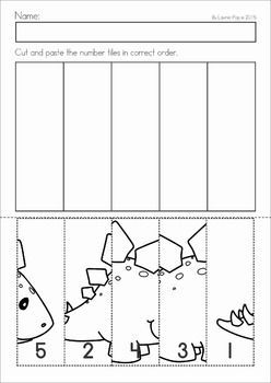 Dinosaur Preschool Math and Literacy No Prep worksheets and activities. A page from the unit: number order cut and paste