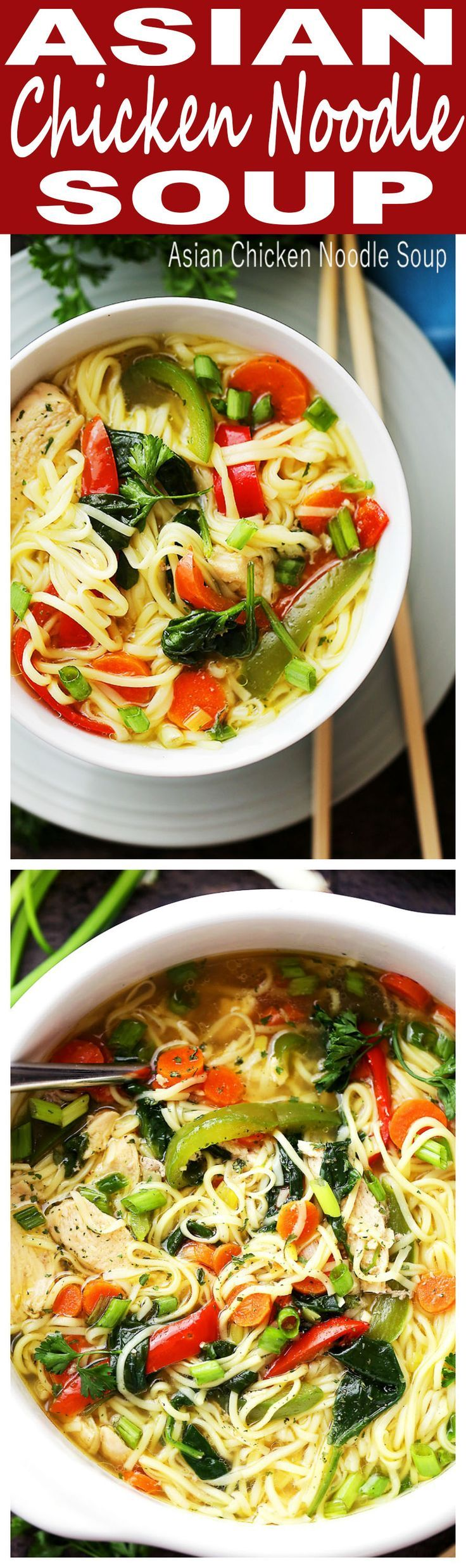 Asian Chicken Noodle Soup | www.diethood.com | A flavorful and delicious twist on the classic Chicken Noodle Soup featuring ginger, teriyaki sauce, egg noodles, and colorful vegetables! Ready in about 30 minutes!