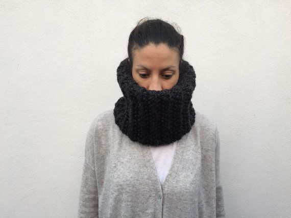 NEW Chunky dark grey cowl/scarf /knitted/Norah by ClaireDAlbert