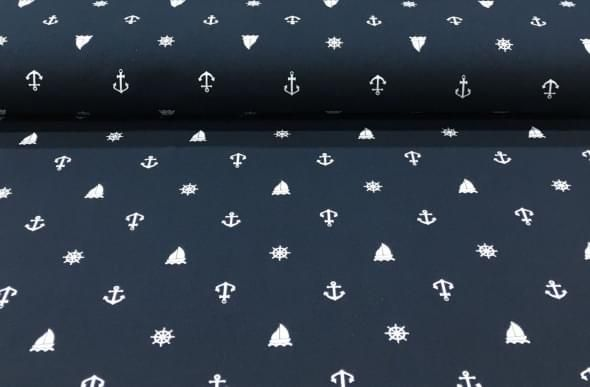 Kinder Tricot met Anker en Stuurwiel - Megastoffen.nl - Kinder tricot coupons met ankers en stuurwielen donkerblauw  1.00x1.50, 6 euro p/s marine, matroos, zeeman stofje