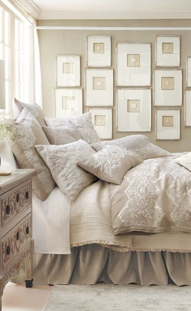 ♦ Quiet tonal design. So Restful for the Master or a Guestroom. LOVE the intaglio gallery wall!♦
