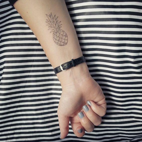 Illustrated Pineapple Temporary Tattoo Summer Tattoo