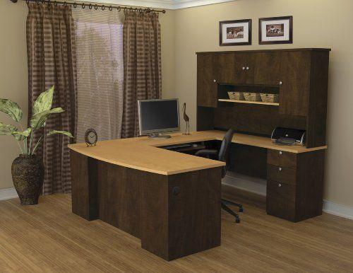 Bestar Manhattan U Shaped Workstation Secret Maple Chocolate Inc Office SetOffice DesksHome