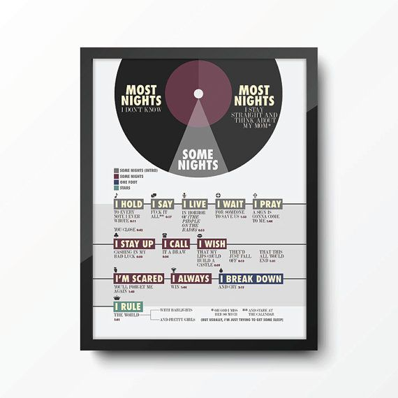 Some Nights infographic - FUN. band song lyrics art print poster by HarperStreet, $17.00 - fun. band - Nate Ruess, Jack Antonoff, Andrew Dost