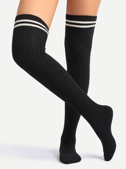 Calcetines por encima de rodilla ribete a rayas-Sheinside