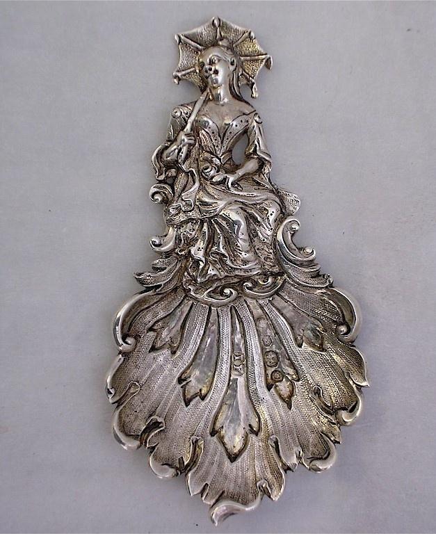 Lady in Crinoline Caddy Spoon, 1843 by John Figg