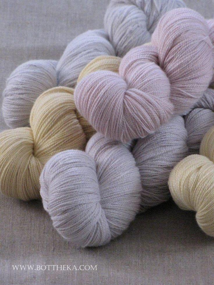 Pale-coloured… vegetable dyeing, wool,silk yarn, frangula's bark, hibiscus flowers, walnut leaf, ivy berries http://bottheka.com/en/pale-coloured